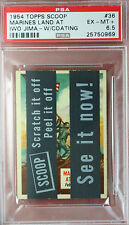 RARE 1954 TOPPS SCOOPS w/coating MARINES LAND IWO JIMA #36 PSA 6.5