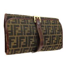 FENDI Zucca Clutch Hand Bag Pouch Brown Canvas Leather Vintage AK38208f