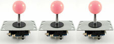 3 x Sanwa Style Ball Top Arcade Joysticks, 8 Way (Pink) - MAME, JAMMA