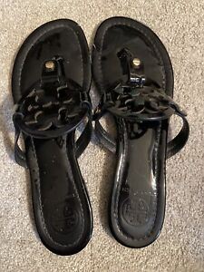 Tory Burch Miller Patent Leather Sandals Black Size 8 Preowned