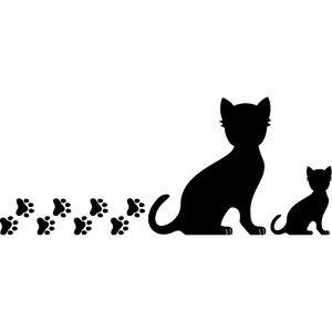 2 Cats Right + Paws Black Sticker Tattoo Deco Foil Car Balcony Door