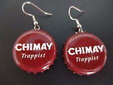 Belgium CHIMAY TRAPPIST Maroon/White Silver Tone Beer Bottle Cap Wire Earrings