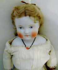 """Antique China head doll with hair! rare little girl face scary old kid hands 20"""""""