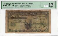 Ethiopia 1932 1933 5 Thalers PMG Certified Banknote Fine 12 Pick 7 BWC