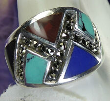 Lapis Turquoise Marcasite Sterling Silver 0.925 Estate Cocktail Ring size 8 / Q