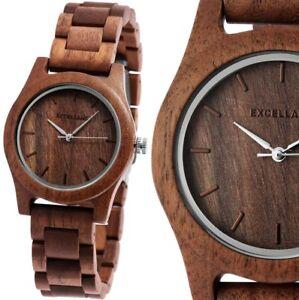 Damenuhr Quarz Armbanduhr Holzuhr Walnussholz Gliederarmband 180/156 Wood
