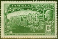 Jamaica 1919 1 1/2d Green SG80a Major Re-Entry Fine MNH