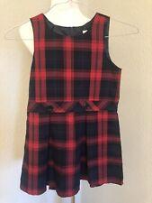 Land's End Girls Christmas Red Plaid Jumper Sz 6X Xmas School Uniform