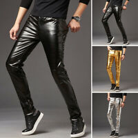 Men's Faux Leather Glossy Trousers Tight Pants Clubwear Performing Costume