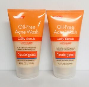(2) Neutrogena Oil-Free Acne Wash Daily Scrub 4.2 fl oz (124 ml) Each