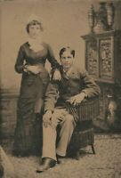 Old Vintage Antique Tintype Photo Young Man Woman Brother Sister In a Parlor