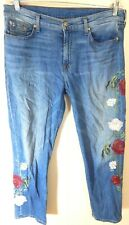 7 For All Mankind Women 31 12 Jeans Josefina Skinny Boyfriend Rose Garden EUC