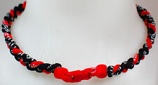 "New! 20"" Custom Clasp Braided Sports Red Rojo Black Tornado Necklace Twisted"