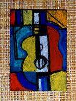 ACEO original pastel painting outsider folk art brut #010359 abstract surreal