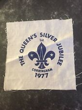 Queens Silver Jubilee. 1st Corringham. UK Scout printed cloth badge