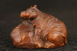 chinese boxwood hand carved hippo statue netsuke collectable hand piece