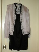 Women's Adrianna Papell Silk Skirt Suit w Beading Size 6 Black/Pink fully lined
