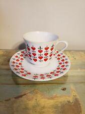 Vintage 50s Relpo Japan Ceramic Valentines Day Heart Cup & Saucer Set