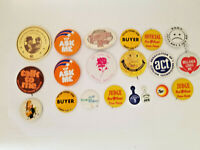 Vintage 70's space shuttle smiley face POW Hershey IRS Pinback Button Lot Of 20