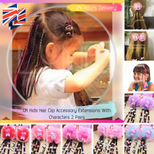UK Kids  Hair Clip Accessory Extensions With Characters 2 Pairs 24 Hrs Delivery