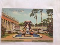 Vintage Postcard Linen Famous Fountain Of turtles Ringling Art Museum Unposted