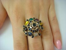 18K YELLOW GOLD ANTIQUE LARGE GENUINE MULTI-COLOR GEMSTONES HIGH SET RING