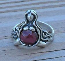 GODDESS of ABUNDANCE RING .925 Sterling Silver Sz 8 w/ Genuine Garnet gem