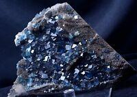 New Find Transparent Blue Cube Fluorite CRYSTAL CLUSTER Mineral Specimen 2322g