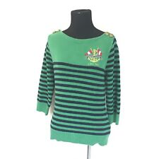 VTG RALPH LAUREN JEANS CO BLUE GREEN STRIPED NAUTICAL ANCHOR CREST SWEATER SZ S