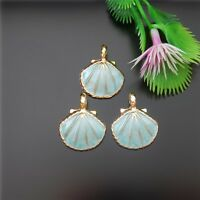 Blue&Gold Alloy Conch Scallop Shell Pendants Craft Accesseries Jewelry 50987 15x