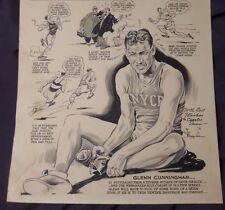 JIM BERRYMAN 1940 ART sport cartoon GLENN CUNNINGHAM OLYMPIC mile PULITZER PRIZE