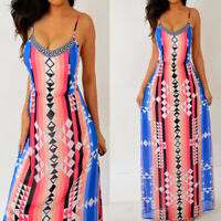 Black Pink Blue Striped Tribal Aztec Chiffon Long Maxi Dress L M Medium