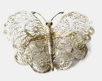 Vintage Silver Filigree Butterfly Insect Brooch 50X36MM GIFT BOXED