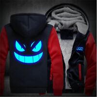Pokemon Go Gengar Cosplay Luminous Zipper Jacket Unisex Sweatshirts Hoodie Coat