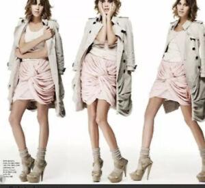 Authentic burberry prorsum Silk Skirt Alexa Chung Wear 38 Taupe Dark Beige