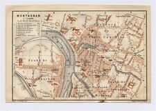 1914 ORIGINAL ANTIQUE CITY MAP OF MONTAUBAN / MIDI-PYRENEES / FRANCE
