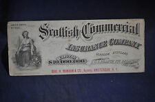 Ca 1880-190 *EARLY* Scottish Commercial Insurance Company Blotter 9 Inches Long!
