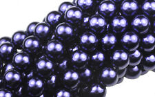 75 Purple Czech Glass Round Pearl Beads 8MM