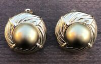 Vintage Signed CINER Large Gold Tone Runway Couture Clip On Earrings