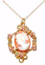 Black Hills Gold 10k Garnet Pendant Necklace 12k Leaves