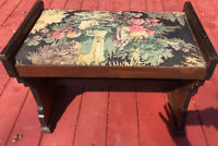Vintage/Antique Art Deco Wood beautiful Upholstered Piano Vanity Bench Stool