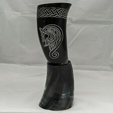 Celtic Horse Viking Buffalo Drinking Horn Carved Pagan Medieval Thrones Beer