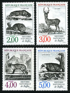 France 2123-2126, MNH. Buffon's Natural History. Otters, Stag, Fox, Badger, 1988