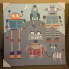 "Oopsy Daisy Circo Canvas Wall Art ~ Robot Friends 21"" x 21"""