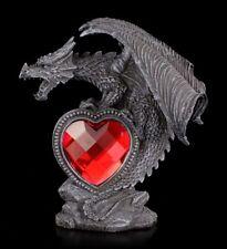 Gothic Drachen Figur - Syus mit rotem Acryl Herz - Deko Fantasy Liebe Geschenk