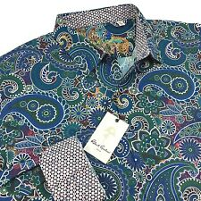 NWT Robert Graham Mens Casual Sport Shirt Size 2XL Blue/Multi-Color Paisley