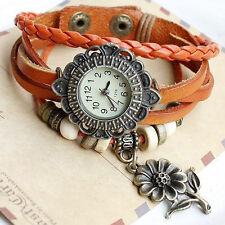 Pulsera Reloj Piel Sintética Trenzado Flor Retro Braded PU Leather Watch A1811