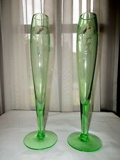 Morgantown Lunna Cathay Etch Meadow Green Pair of Bud Vases