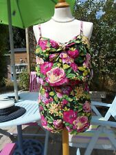 Sugar Candy Playsuit M 12-14 Tropical Floral 100% Cotton Sweetheart Neckline
