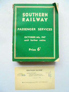 SR timetables 1947 inc Pullman Car & Continental services